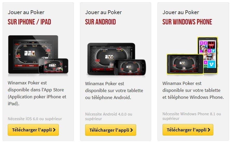 Winamax poker sur iPhone